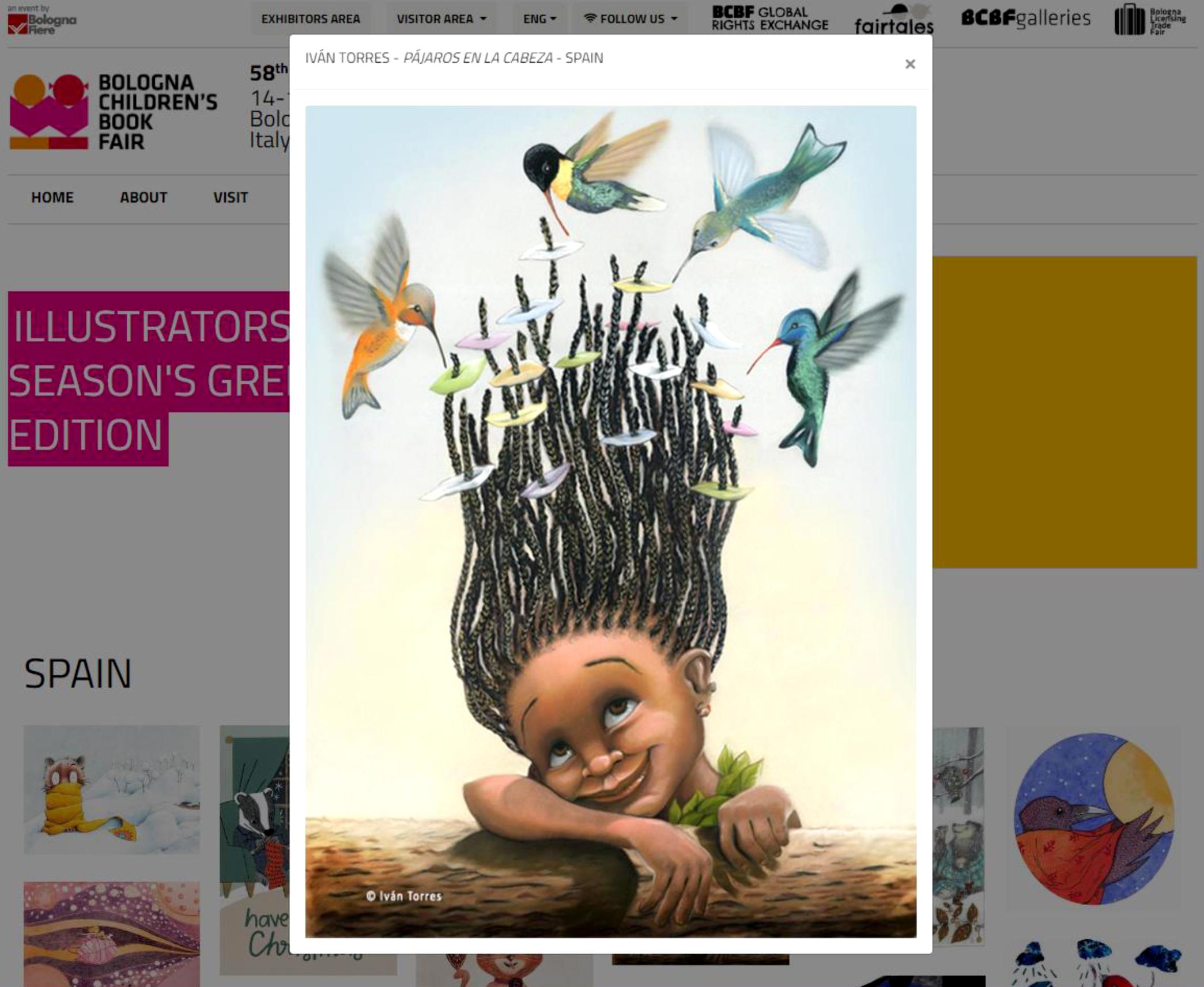 «Pájaros en la cabeza» en el muro virtual de la Feria de Bologna 2021